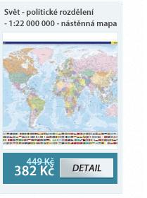 Svět - politické rozdělení - 1:22 000 000 - nástěnná mapa