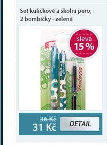 Set Venturio kuličkové a školní pero, 2 bombičky - zelená v blistru