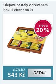 Olejové pastely v dřevěném boxu Lefranc 48 ks.