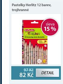 Herlitz Pastelky dřevěné trojhrané - 12 barev