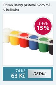 Primo Barvy prstové 6×25 ml, v kelímku