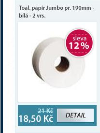 Toaletní papír Jumbo průměr 190 mm - bílá - 2 vrstvy (105 m)