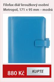 Filofax diář kroužkový osobní Metropol 171x95 - modrá