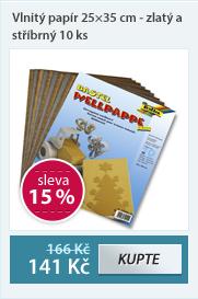 Vlnitý papír 25×35 cm - zlatý a stříbrný 10 ks