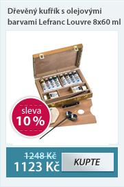 Dřevěný kufřík s olejovými barvami Lefranc 8x60 ml