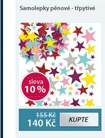 Samolepky pěnové - Třpytivé hvězdičky 180 ks