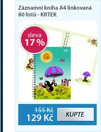 Bobo Záznamní kniha A4 linkovaná 80 listů - KRTEK
