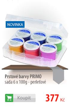 Prstové barvy PRIMO, sada 6 x 100g - perleťové