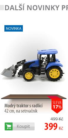 Modrý traktor s radlicí 42cm