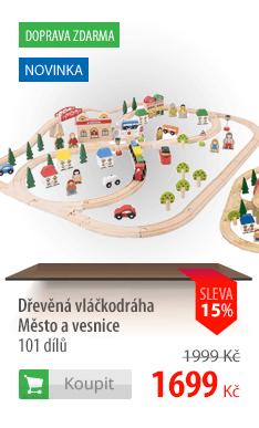 Dřevěná vláčkodráha Město a vesnice 101 dílů