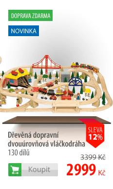 Dřevěná dopravní dvouúrovňová vláčkodráha 130 dílů