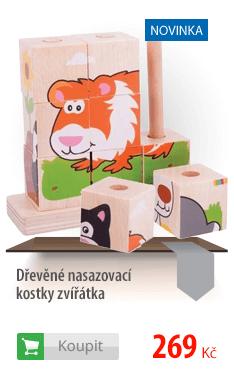 Dřevěné nasazovací kostky zvířátka