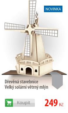 Dřevěná stavebnice Velký solární větrný mlýn