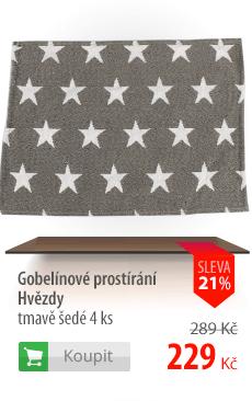 Gobelínové prostírání Hvězdy tmavě šedé 4ks