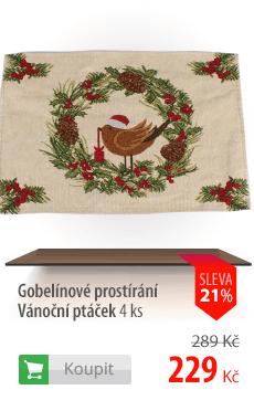Gobelínové prostírání Vánoční ptáček 4 ks