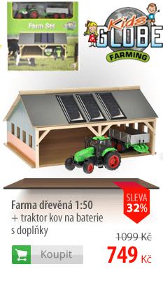 Farma dřevěná 1:50 + traktor kov na baterie s doplňky