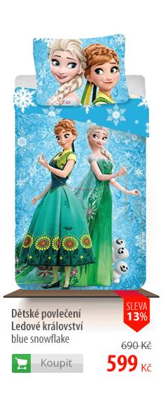 Dětské povlečení Ledové království blue snowflake