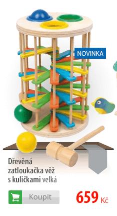 Dřevěná zatloukačka věž s kuličkami velká