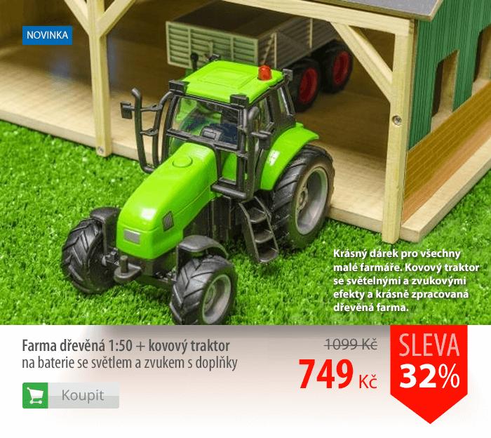 Farma dřevěná 1:50 + kovový traktor na baterie se světlem a zvukem