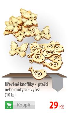 Dřevěné knoflíky ptáčci nebo motýlci