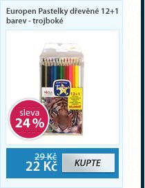 Europen Pastelky dřevěné 12+1 barev - trojboké