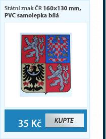 Státní znak ČR 160×130 mm, PVC samolepka bílá