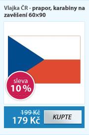 Vlajka ČR - prapor, karabiny na zavěšení 60×90