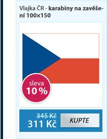 Vlajka ČR - karabiny na zavěšení 100×150