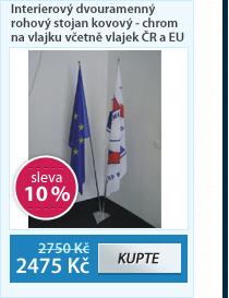 Interierový dvouramenný rohový stojan kovový - chrom na vlajku včetně vlajek ČR a EU 150×100 cm - komplet