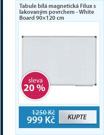 Tabule bílá magnetická Filux s lakovaným povrchem - White Board 90×120 cm