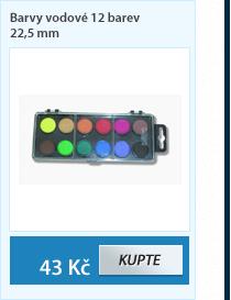 Barvy vodové 12 barev 22,5 mm