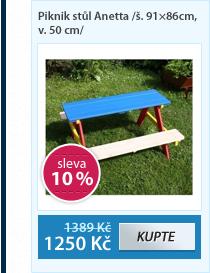 Piknik stůl Anetta /š. 91×86cm, v. 50 cm/
