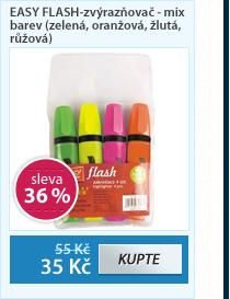 EASY FLASH-zvýrazňovač - mix barev (zelená, oranžová, žlutá, růžová)