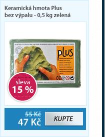 Keramická hmota Plus bez výpalu - 0,5 kg zelená