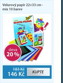 Velurový papír 22×33 cm - mix 10 barev