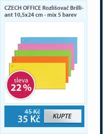 CZECH OFFICE Rozlišovač Brilliant 10,5x24 cm - mix 5 barev