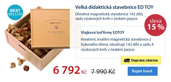 Velká didaktická stavebnice ED TOY - dřevěná magnetická stavebnice 142 dílů, sadu výukových knih v českém jazyce