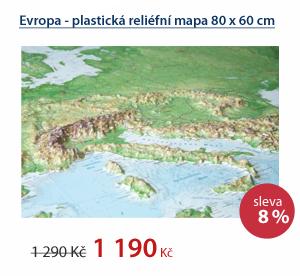 Evropa - plastická reliéfní mapa 80 x 60 cm