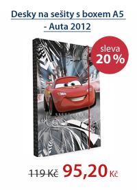 PP Desky na sešity s boxem A5 - Cars 2012