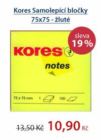 Kores Samolepící bločky 75x75 - žluté