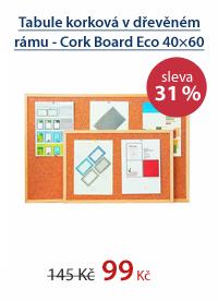 Tabule korková v dřevěném rámu - Cork Board Eco 40×60 cm