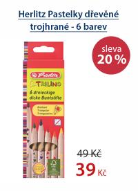 Herlitz Pastelky dřevěné trojhrané - 6 barev