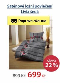 Saténové ložní povlečení Livia šedá