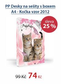 PP Desky na sešity s boxem A4 - Kočka vzor 2012