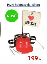 Pivní helma s vlaječkou - červená