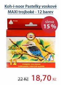 Koh-i-noor Pastelky voskové MAXI trojboké - 12 barev