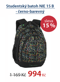Studentský batoh NIE 15 B - černo-barevný