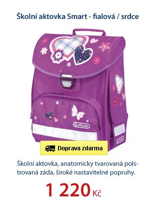 Školní aktovka Smart - fialová / srdce