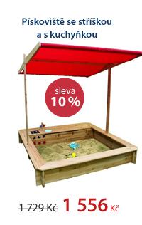Pískoviště se stříškou a s kuchyňkou/ 120×120,v.120 cm/