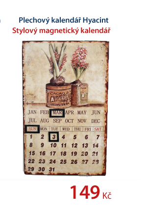 Plechový kalendář Hyacint